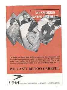 BOAC VINTAGE SAFETY CARD 1947 B.O.A.C.