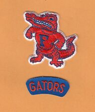 Old FLORIDA GATORS JERSEY 2 pc PATCH SET Logo & Name Unsold Stock IRON ON