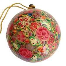 Christmas Tree Ball - Red Papier-Mache - Handmade in India - Fair Trade