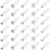 6 Stück Haarnadeln im Set Blume Blüte Strass Perle Hochsteckfrisur Haarschmuck