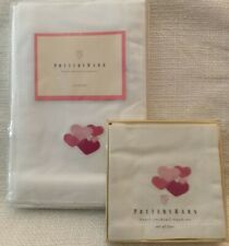 Pottery Barn White Napkins With Embroidered Pink Hearts, 4 Dinner + 4 Cocktail ❤