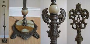 Antique Art Deco Art Nouveau MARKED 1895 floor lamp CAST IRON & STAINLESS & SLAG