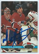 Mathieu Schneider signed 1991-92 Stadium Club Montreal Canadiens autograph #391