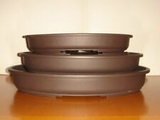 NEW RANGE - SET OF 3 TOP QUALITY PLASTIC OVAL BONSAI POT
