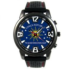 Key West US City Flag Mens Style Black Silicone Strap Quartz Wrist Watch S704F
