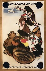 OLD POSTER SOUTH AFRICA BY SAS-OTTO NIELSEN-ADVERTISING FLIGHTS AIRLINES 1950's