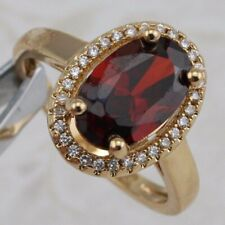 Size 6 Awesome Great Garnet Red Oval Jewelry Yellow Golden Filled Ring R2754