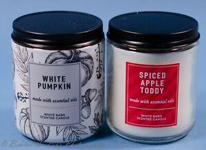 2 White Barn Single Candle Jars NEW Pumpkin Spiced Apple Toddy Bath Body Works
