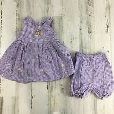 Walt Disney World Winnie The Pooh Purple Gingham Dress Bloomers Baby Girls 24 M