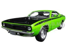 1970 PLYMOUTH CUDA GREEN WITH BLACK 1/24 DIECAST CAR MODEL  BY NEW RAY 71875