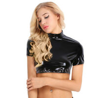 Women Shiny Wetlook Crop Top Clubwear Costume Short Sleeve Half Tank Shirts Vest