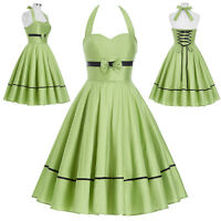 Womens Vintage Style Retro 40s 50s Halter Evening Party Swing Pin Up Retro Dress