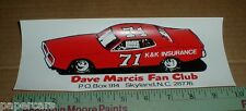Dave Marcis Fan Club 1975 vintage NASCAR Racing Dodge Charger Sticker Skyland NC