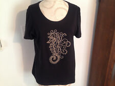 CORAL BAY Cotton Blend Black Crystal Studded Seahorse Short Sleeve Top Shirt PM