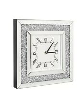 40cm Large Crushed Crystal Mirror Jewel Wall Clock Roman Numbers Diamante Clock