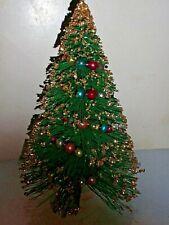 "VINTAGE GREEN GLITTER BOTTLE BRUSH CHRISTMAS TREE MERCURY GLASS GARLAND 9"" EUC"