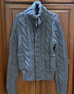 Ruehl No.925 Chunky Cable Knit Button Up Heavy Jacket Cardigan Men's Sz. M Rare