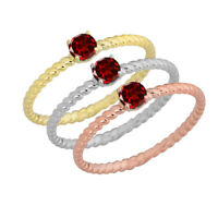 Genuine Aquamarine Stackable Rope Gold Ring (Choose your Metal Color)