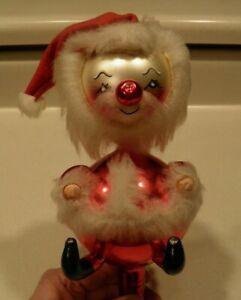 De Carlini Vintage Santa Tree Topper Hand Painted Face Fake Fur Trim VGUC