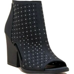 Studded Peep Toe Ankle Bootie Black Sizes 8 10 Charming Charlie faux suede