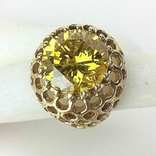 Womens 925 Sterling Silver & Gold Plated Ring Size 8 Golden Brilliant CZ Jewelry