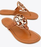 NEW Tory Burch Miller Metal Logo Leather Sandals, Tan/Rose Gold