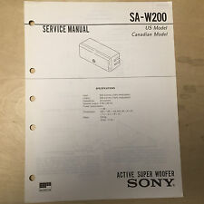 Sony Service Manual for the SA-W200 Super Woofer ~ Repair