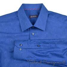 ROBERT GRAHAM Blue Shadow Paisley 100% Cotton Mens Luxury Dress Shirt - 17 1/2