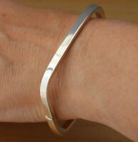 925 Sterling Silver Square Bangle Bracelet Plain 4mm UK Hallmarked Hinged