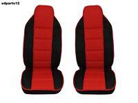 Per Iveco Scania Coprisedili Ecopelle Rosso e Tessuto Nero Universale Camion x 2