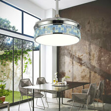 "42"" Ceiling Fan Light Invisible Retractable Blades 3Color Change Chandelier Lamp"