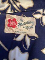 Hilo Hattie Mens Hawaiian Shirt  XXXXL 4XL Blue White Hibiscus Aloha Tropical