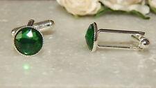 S/P Cufflinks & 10mm Emerald Resin.Wedding.Ladies.Mens.Accessories.Gifts.Formal