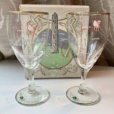 2 Irish Coffee Glasses - Gold Rim, Crystal Stems, Mix Lines, Set of 2 Goblets