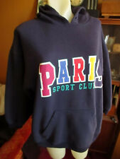 LARGE True Vtg 90s Blue PARIS SPORT COLORFUL GRAPHIC PREPPY HOODY SWEAT SHIRT