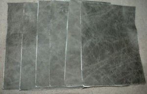 Scrap Leather Genuine cowhide Dark  Gray with Design 6 pieces  8x6 inches New
