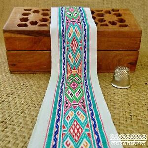 Ethnic Chinese Embroidered Geometric Ribbon Tape Tribal Multicolour M1914