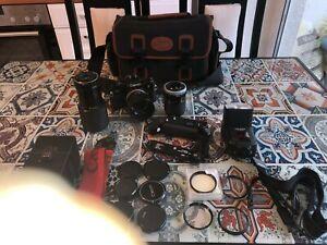 Canon A-1 mit Motor Drive MA+ Battery Pack 3x Objektiv,Blizt