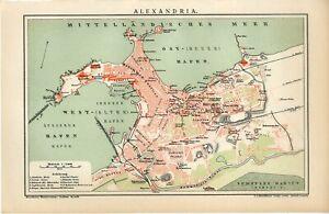 1895 EGYPT ALEXANDRIA CITY PLAN Antique Map