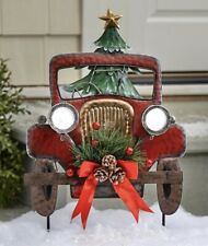 NEW Solar Red Truck Stake On Off Light Christmas Holiday Outdoor Yard Decor Red