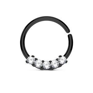 1pc Five CZ Gem Hoop Ring for Nose Septum Daith Rook Tragus Ear Cartilage