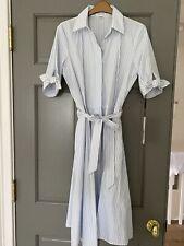 Calvin Klein NWT BLUE/WHITE Striped Cotton Shirt Dress, Size 4