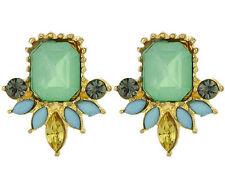 Fashion Retro Cute Resin Crystal Leaf Flower Statement Geometry Earring Stud
