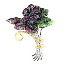 Handmade Flower Carving Ruby Zoisite 47x26mm Sapphire 925 Sterling Silver Brooch