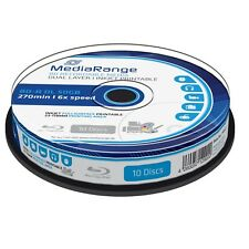 10 MEDIARANGE Blu ray BD-R DL DUAL LAYER 50GB 6X FULL cake 10 PRINT INKJET MR509