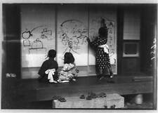 Three children drawing,on panels,Japan,1909,East Asia,1909,shoes,girl,boys 1552