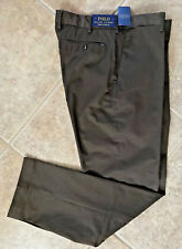 Polo Ralph Lauren Flat Front Casual Pants 36 30 Brown Stretch Classic Fit NWT