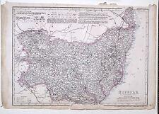 1864 LARGE ANTIQUE MAP ~ SUFFOLK WOODBRIDGE HALESWORTH THETFORD BURY ST EDMUNDS