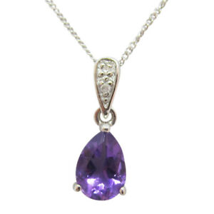 9ct White Gold 0.62ct Pear Shaped Amethyst Fancy Pendant With Chain