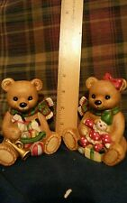 Christmas Bears Homco Girl With Clown Doll Boy With Rocking Horse, Ball, Horn